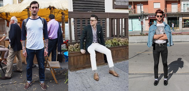 hombres luciendo diferentes zapatos