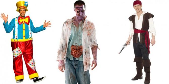 tres imágenes de disfraces de carnaval para hombre