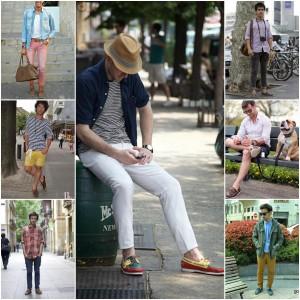 hombres con mocasines