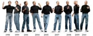 Vestir siempre igual, Steve Jobs con la misma ropa en varios años