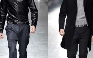 dos hombres desfilando con un cinturón de moda