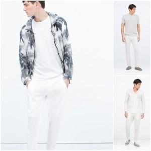 tres diseños de pantalón blanco para hombre de zara
