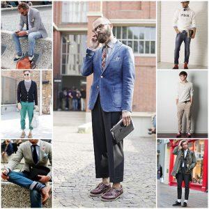 hombres con pantalones remangados