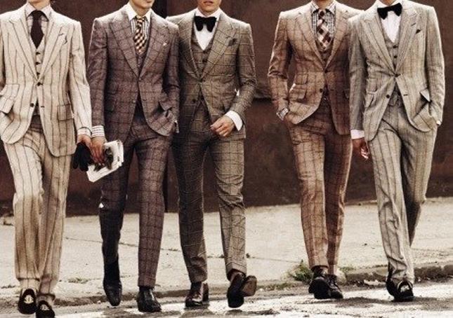 hombres con traje de tweed